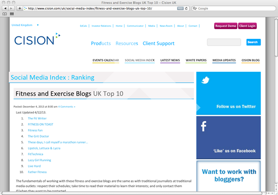 Cision Fitness and Exercise Blogs UK Top 10