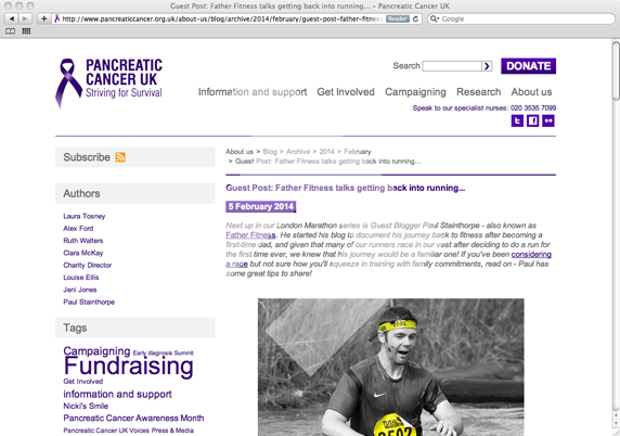 Pancreatic Cancer UK - Father Fitness