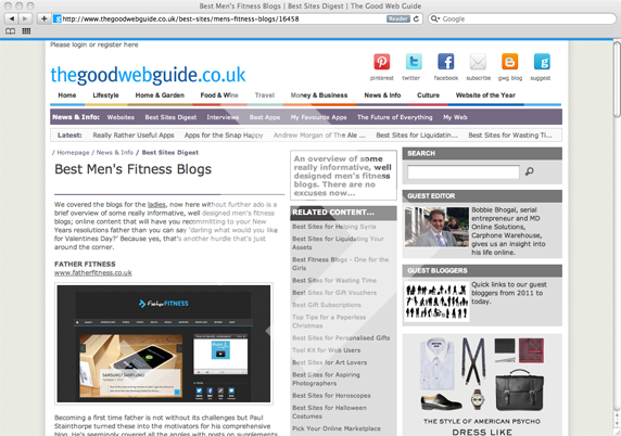 The Good Web Guide - Best Men's Fitness Blogs